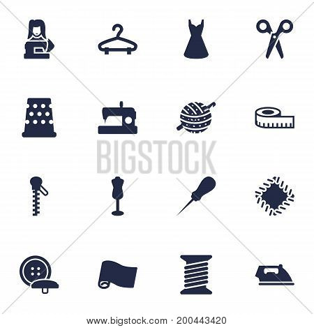 Collection Of Rack, Clothier, Tailor And Other Elements.  Set Of 16 Stitch Icons Set.
