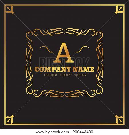 Golden Logo template Elegant flourishes calligraphic. Monogram A letter emblem. Vintage ornament lines. Luxury Business sign, identity for Restaurant, Fashion Boutique, Cafe, Hotel, vector illustration