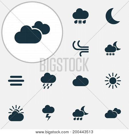 Weather Icons Set. Collection Of Nightly, Sun, Moon And Other Elements