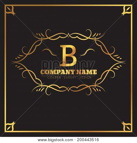 Golden Logo template Elegant flourishes calligraphic. Monogram B letter emblem. Vintage ornament lines. Luxury Business sign, identity for Restaurant, Fashion Boutique, Cafe, Hotel, vector illustration