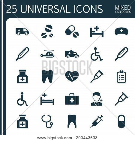 Antibiotic Icons Set. Collection Of Mercury, Disabled, Handicapped Elements