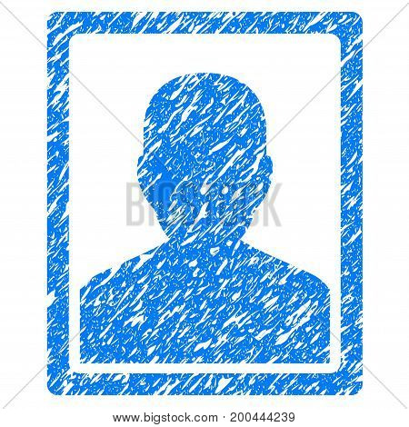 Grunge Patient Portrait icon with grunge design and scratched texture. Unclean vector blue pictogram for rubber seal stamp imitations and watermarks. Draft emblem symbol.