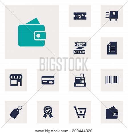 Collection Of Guarantee, Label, Billfold And Other Elements.  Set Of 12 Magazine Icons Set.