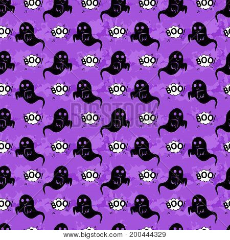 Abstract Seamless Pattern For Girls Or Boys. Creative Vector Background With Ghost, Cloud Boo, Hallo