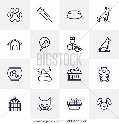 Collection Of Bowl, Pile Of Poo, Vaccination And Other Elements.  Set Of 16 Pets Outline Icons Set.