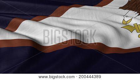 3D illustration of American Samoa flag fluttering in light breeze