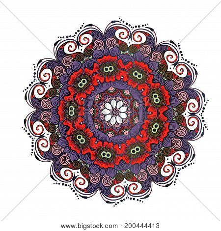 Drawing of a floral mandala in red, violet and brown colors on a white background. Hand drawn tribal vector stock illustration