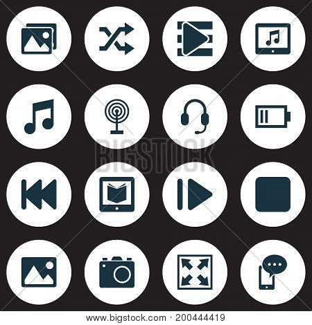 Multimedia Icons Set. Collection Of Headset, Pause, Randomize Elements