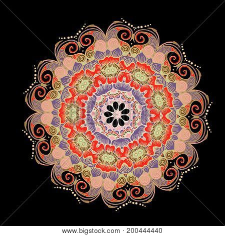 Drawing of a floral mandala in red, violet, gold and pink colors on a black background. Hand drawn tribal vector stock illustration