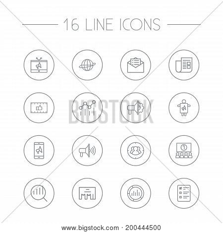 Collection Of Client Brief, Direct Message, Worker And Other Elements.  Set Of 16 Advertising Outline Icons Set.