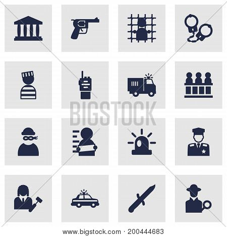 Collection Of Inspector, Signal, Suspicious And Other Elements.  Set Of 16 Crime Icons Set.