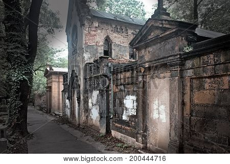 Old tombs at the Prague Cemetery religion