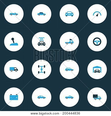 Automobile Colorful Icons Set. Collection Of Van, Lorry, Chassis And Other Elements