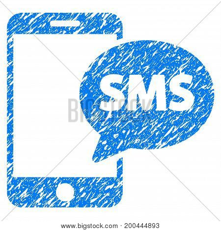 Grunge Phone SMS icon with grunge design and dirty texture. Unclean vector blue pictogram for rubber seal stamp imitations and watermarks. Draft emblem symbol.