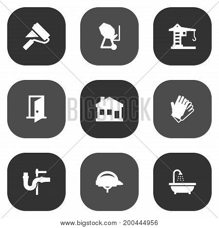Collection Of Building Machinery, Gauntlet, Cement Machine And Other Elements.  Set Of 9 Construction Icons Set.