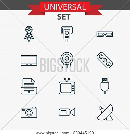Icons Set. Collection Of Universal Serial Bus, Camcorder, Printer And Other Elements