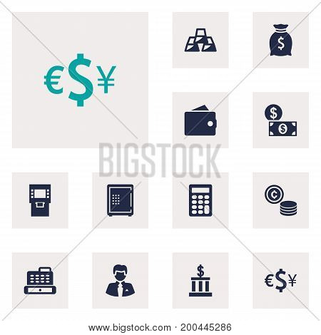 Collection Of Strongbox, Ingot, Cash And Other Elements.  Set Of 12 Finance Icons Set.