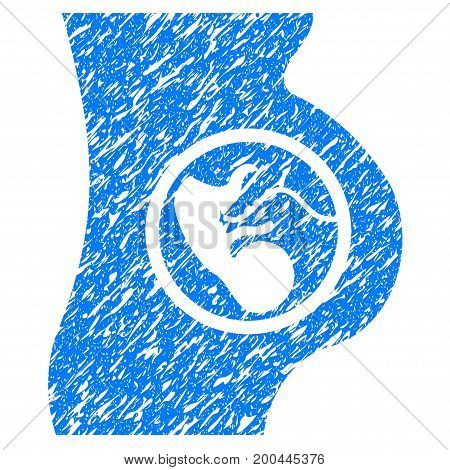 Grunge Pregnancy icon with grunge design and unclean texture. Unclean vector blue pictogram for rubber seal stamp imitations and watermarks. Draft sticker symbol.