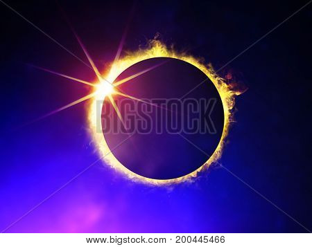 illustration of solar eclipse, enlarged view in the Universe