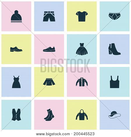 Dress Icons Set. Collection Of Waistcoat, Trunks Cloth, Singlet And Other Elements