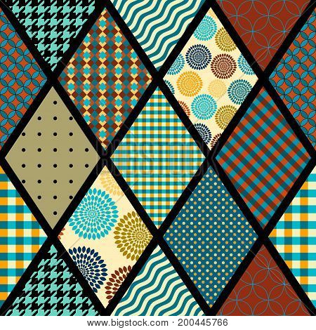Seamless background pattern. Abstract geometric pattern of rhombuses in a patchwork style.