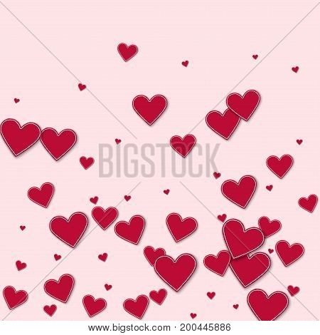 Cutout Red Paper Hearts. Bottom Gradient On Light Pink Background. Vector Illustration.