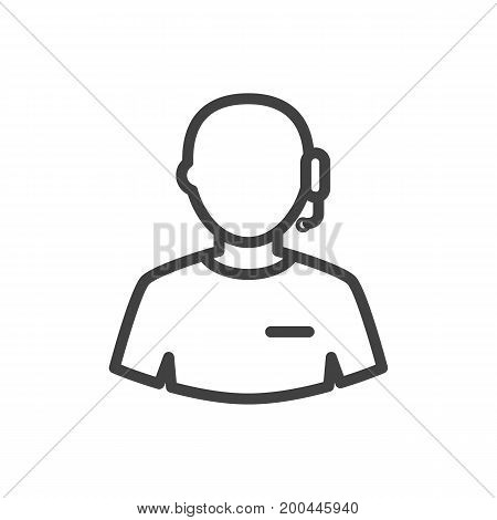 Isolated Call Center Outline Symbol On Clean Background