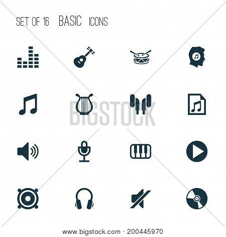 Music Icons Set. Collection Of Meloman, Octave, Instrument And Other Elements