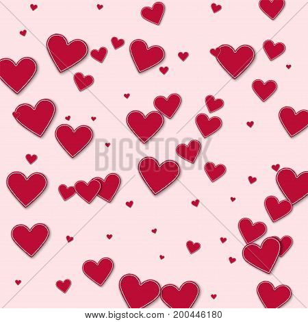 Cutout Red Paper Hearts. Chaotic Scatter Lines On Light Pink Background. Vector Illustration.