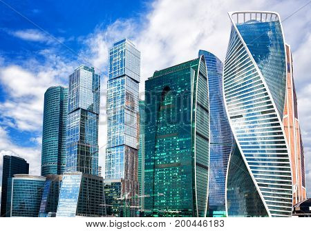 Moscow City Russia modern city centre of skyscrapers.