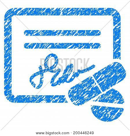 Grunge Receipt icon with grunge design and unclean texture. Unclean vector blue pictogram for rubber seal stamp imitations and watermarks. Draft sign symbol.
