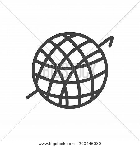 Vector Crochet Element In Trendy Style.  Isolated Knitting Outline Symbol On Clean Background.