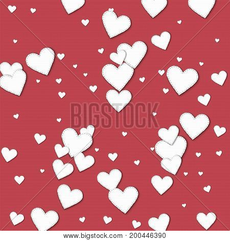 Cutout White Paper Hearts. Scatter Horizontal Lines With Cutout White Paper Hearts On Crimson Backgr