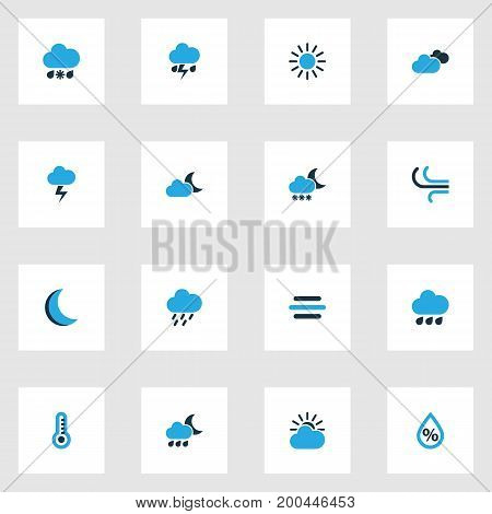 Weather Colorful Icons Set. Collection Of Cold Weather, Lightning, Drizzle And Other Elements
