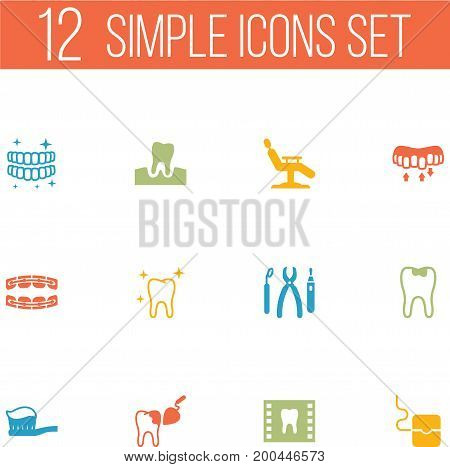 Collection Of Caries, Halitosis, Stabilize And Other Elements.  Set Of 12 Dentist Icons Set.
