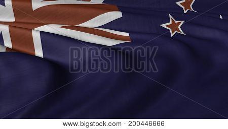 3D illustration of New Zealand flag fluttering in light breeze