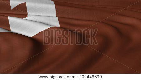 3D illustration of Tonga flag fluttering in light breeze