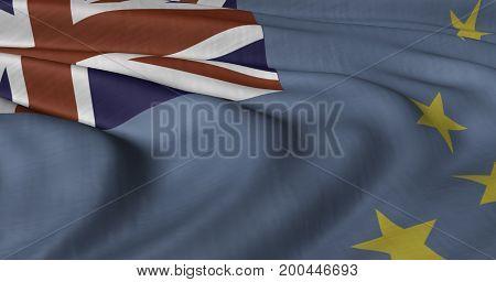 3D illustration of Tuvalu flag fluttering in light breeze