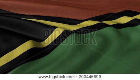 3D illustration of Vanuatuflag fluttering in light breeze