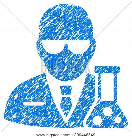 Grunge Scientist icon with grunge design and scratched texture. Unclean vector blue pictogram for rubber seal stamp imitations and watermarks. Draft emblem symbol.