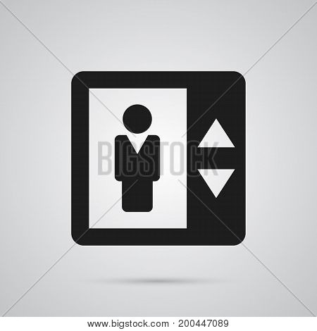 Vector Lift Element In Trendy Style.  Isolated Elevator Icon Symbol On Clean Background.