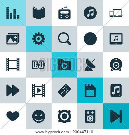 Music Icons Set. Collection Of Film, Next, Multimedia And Other Elements