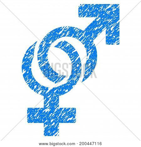 Grunge Sexual Symbols icon with grunge design and unclean texture. Unclean vector blue pictogram for rubber seal stamp imitations and watermarks. Draft emblem symbol.