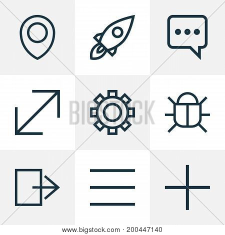 Interface Outline Icons Set. Collection Of Launch, Setting, Resize And Other Elements