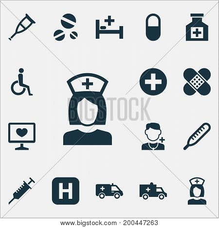 Medicine Icons Set. Collection Of Spike, First-Aid, Handicapped Elements