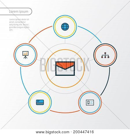 Business Colorful Outline Icons Set. Collection Of Id Badge, Billboard Presentation, Network And Other Elements