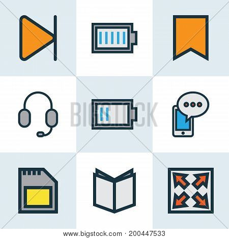 Multimedia Colorful Outline Icons Set. Collection Of Memory, Headset, Flag And Other Elements