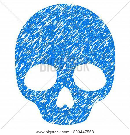 Grunge Skull icon with grunge design and unclean texture. Unclean vector blue pictogram for rubber seal stamp imitations and watermarks. Draft sign symbol.