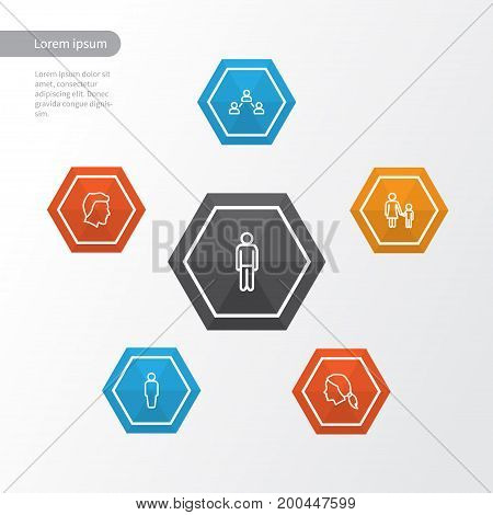 Human Outline Icons Set. Collection Of User, Social Relations, Man And Other Elements