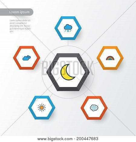 Climate Colorful Outline Icons Set. Collection Of Tornado, Sunshine, Tempest And Other Elements